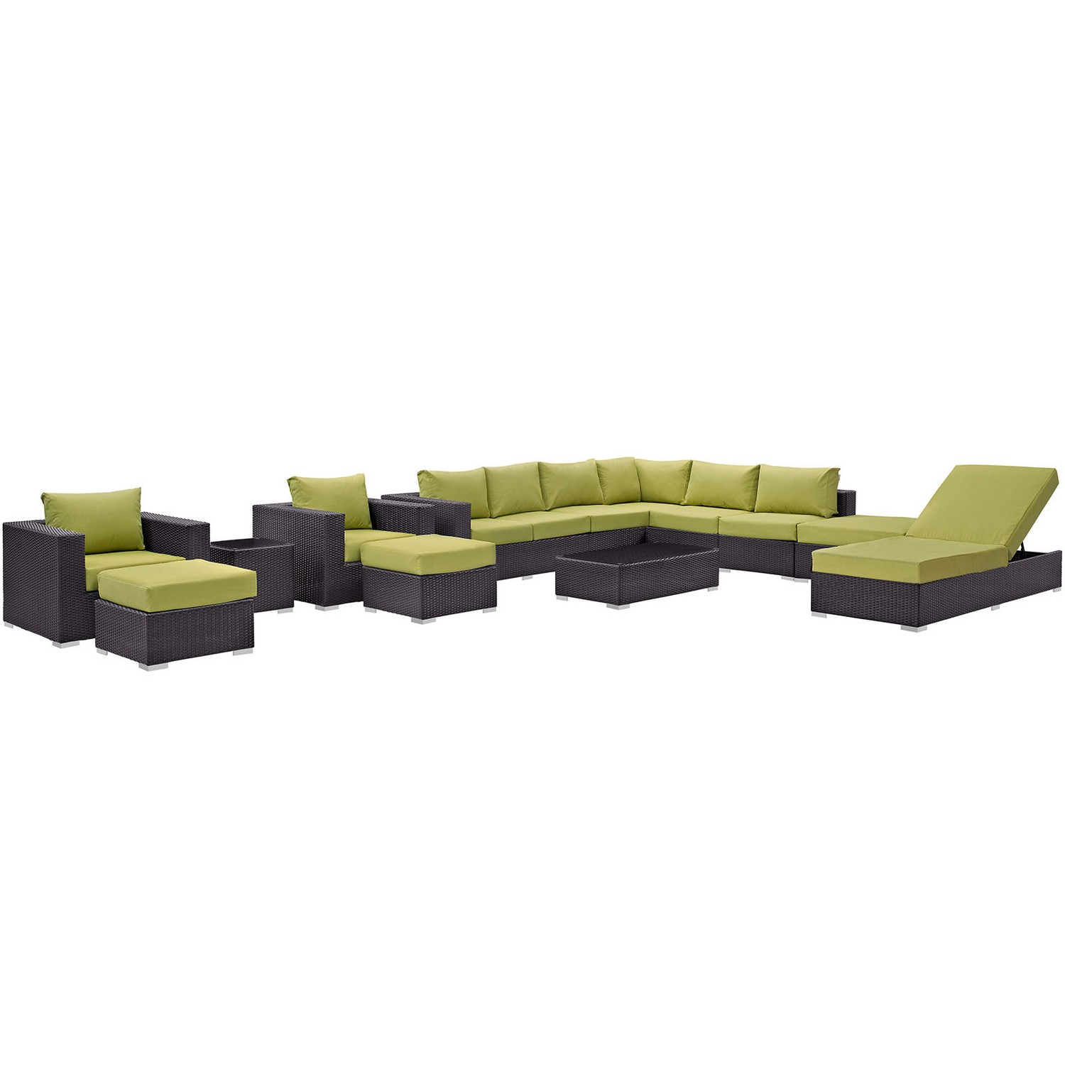 Modway Convene 12 Piece Outdoor Patio Sectional Set - Espresso Peridot