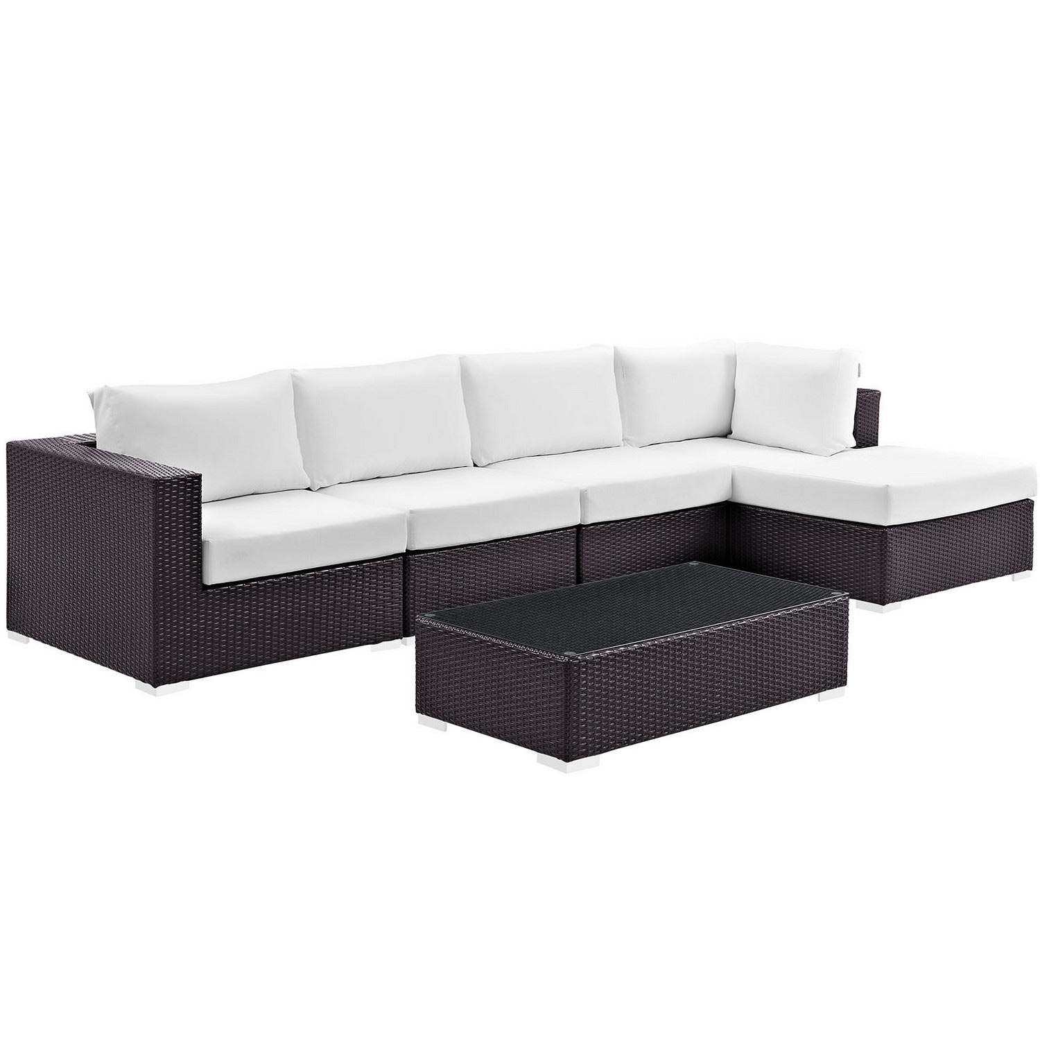Modway Convene 5 Piece Outdoor Patio Sectional Set - Espresso White