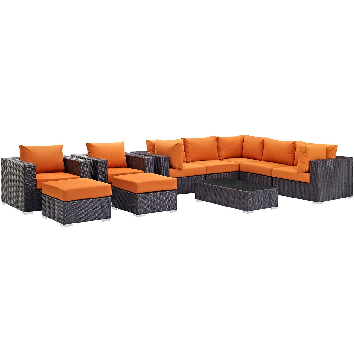 Modway Convene 10 Piece Outdoor Patio Sectional Set - Espresso Orange