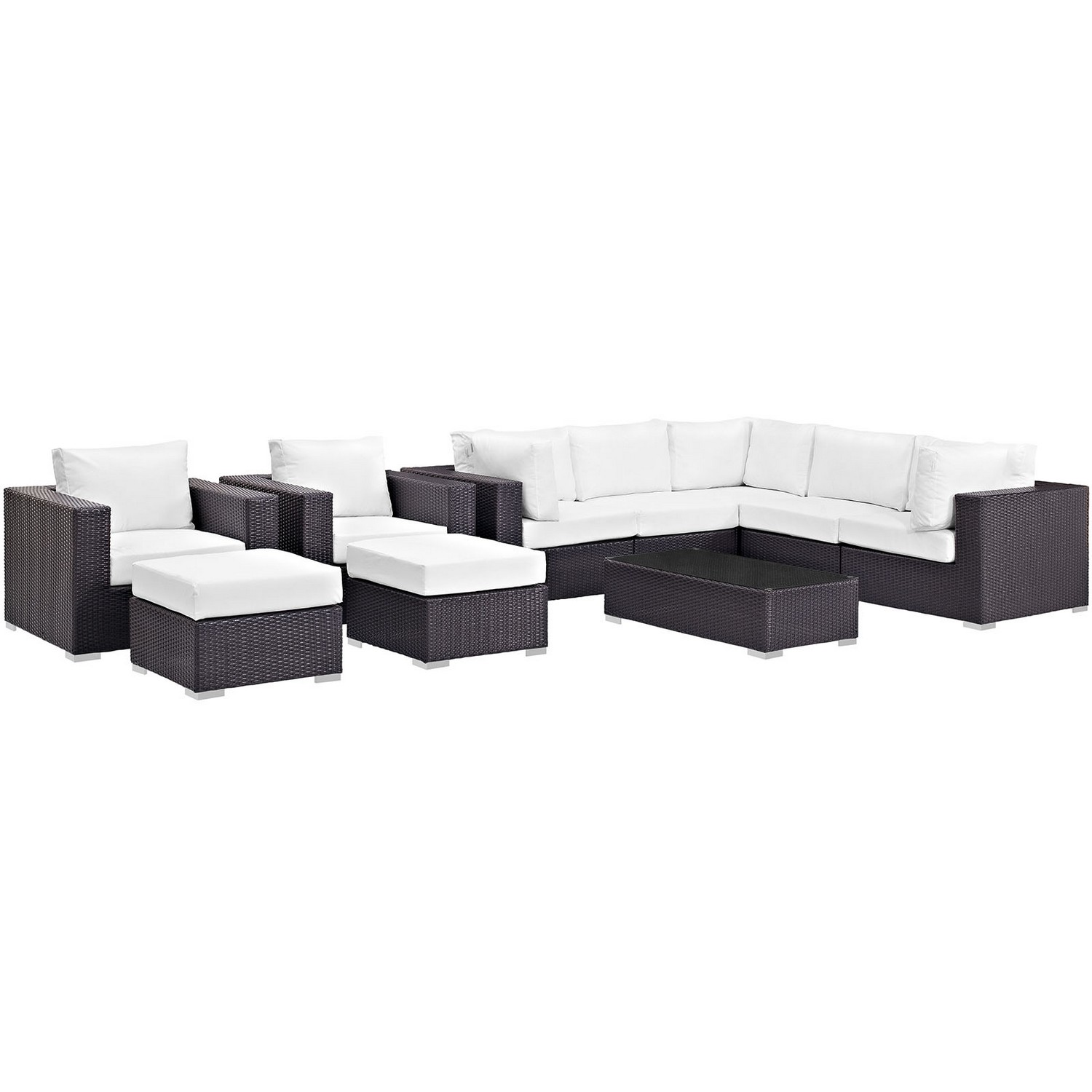Modway Convene 10 Piece Outdoor Patio Sectional Set - Espresso White
