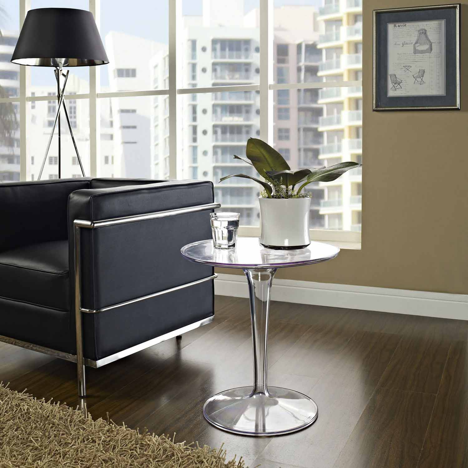 Modway Canvas Side Table - Clear