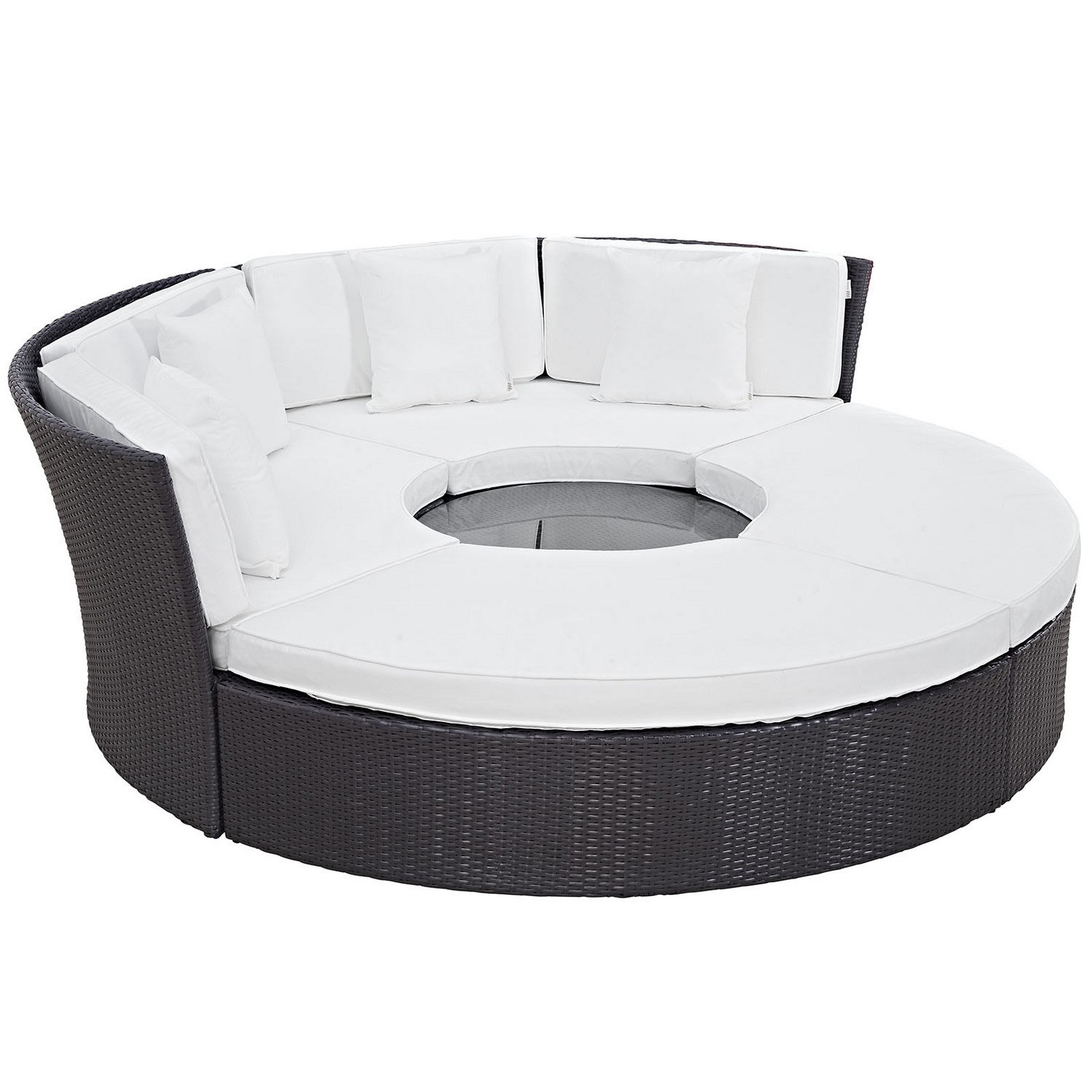 Modway Convene Circular Outdoor Patio Daybed Set - Espresso White