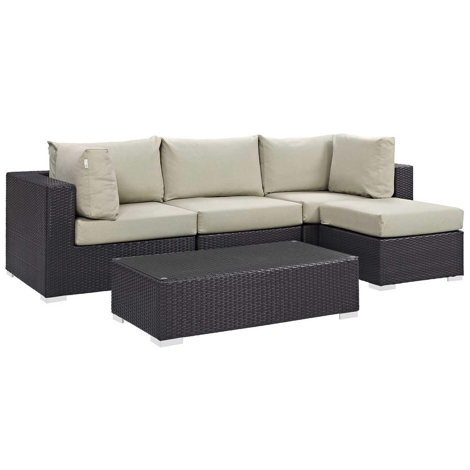 Modway Convene 5 Piece Outdoor Patio Sectional Set - Espresso Beige