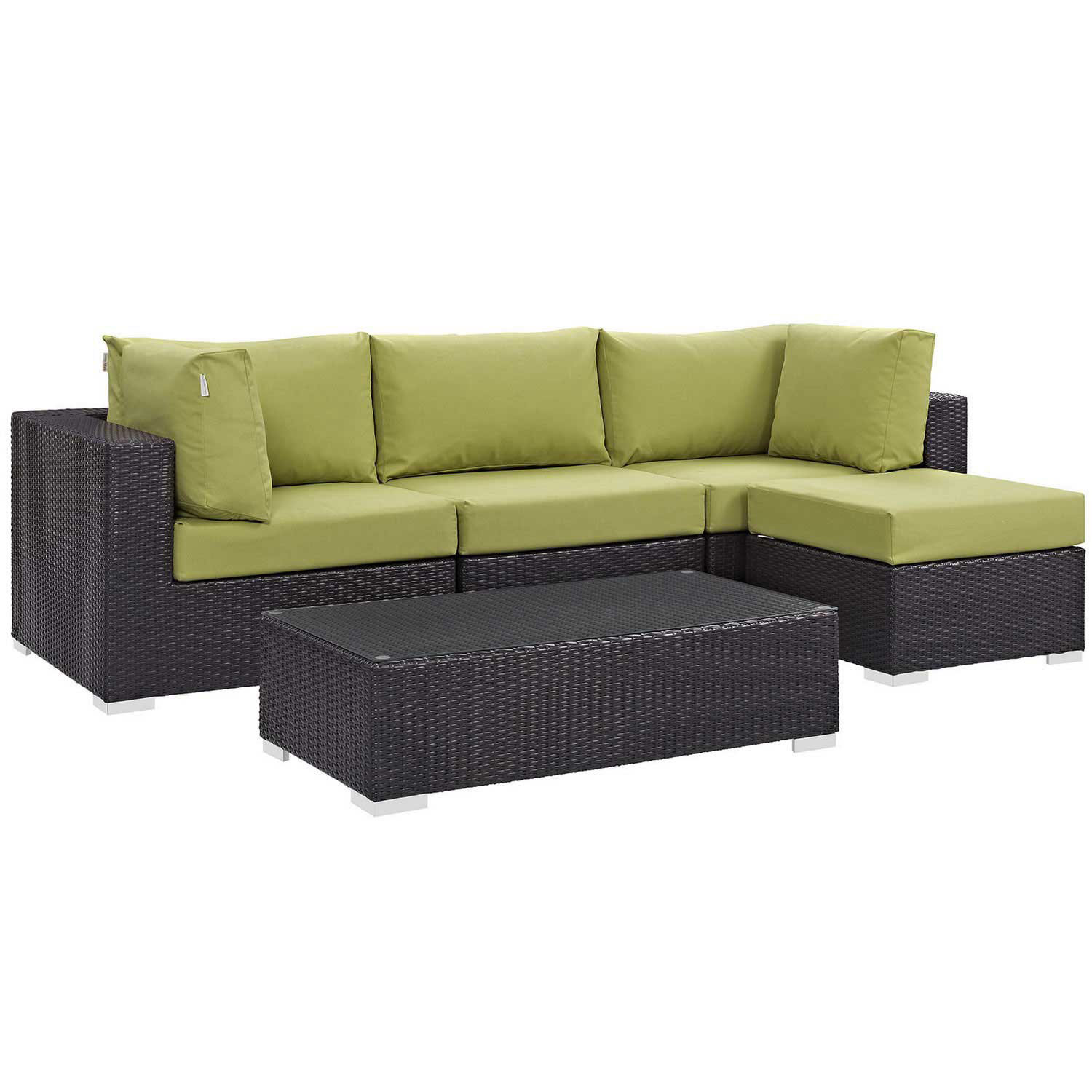 Modway Convene 5 Piece Outdoor Patio Sectional Set - Espresso Peridot