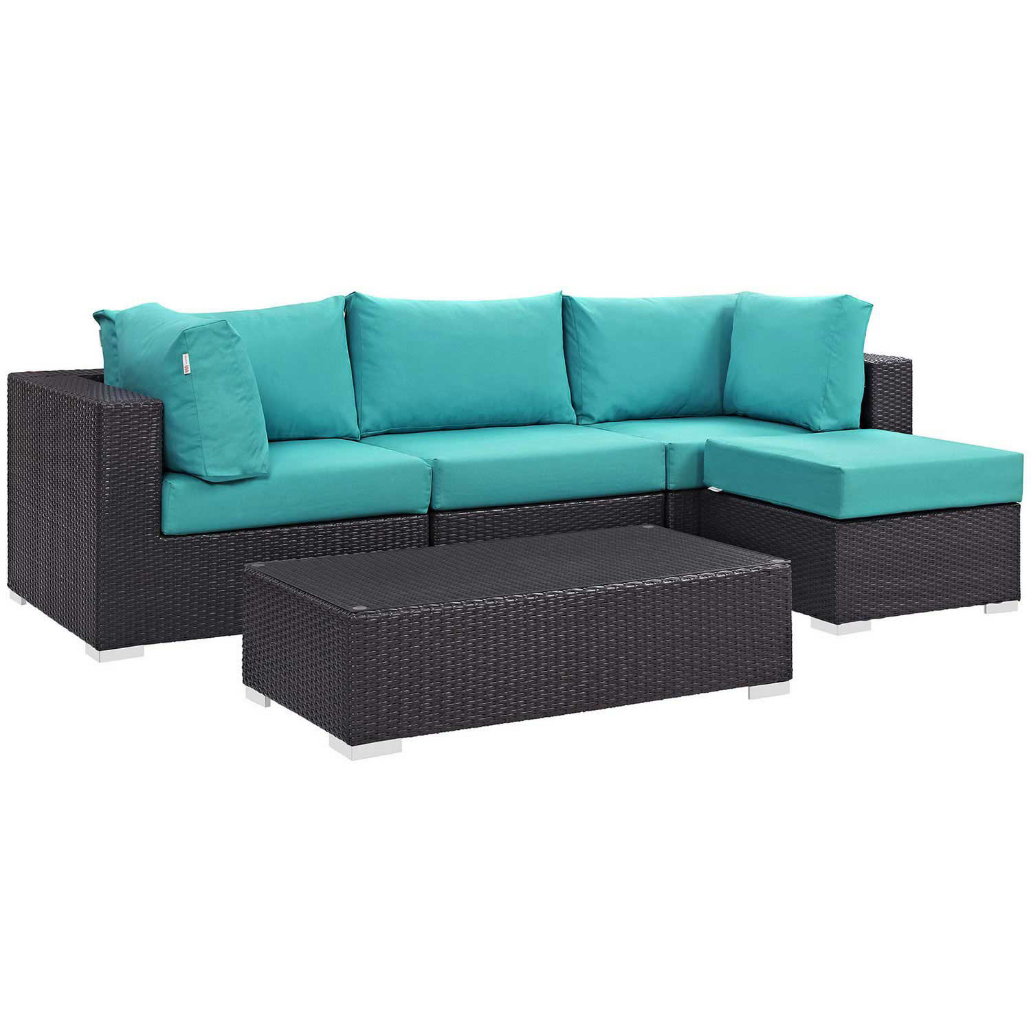 Modway Convene 5 Piece Outdoor Patio Sectional Set - Espresso Turquoise