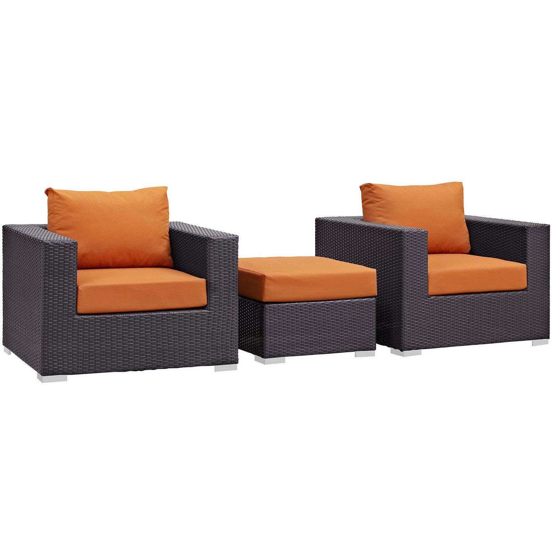 Modway Convene 3 Piece Outdoor Patio Sofa Set - Espresso Orange