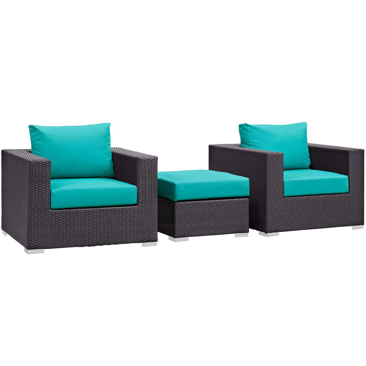 Modway Convene 3 Piece Outdoor Patio Sofa Set - Espresso Turquoise