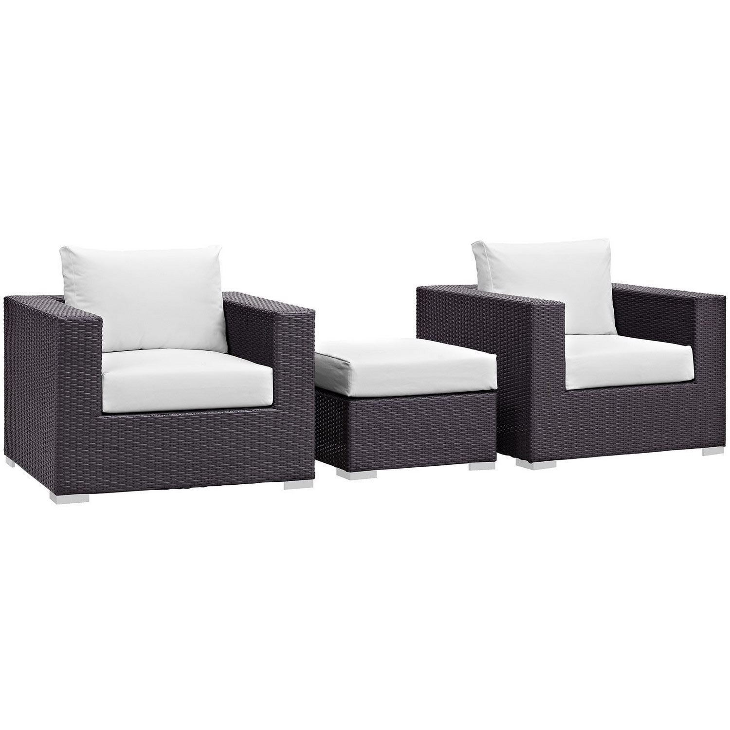 Modway Convene 3 Piece Outdoor Patio Sofa Set - Espresso White