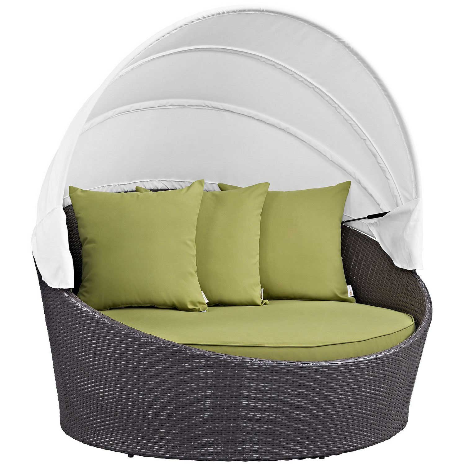 Modway Convene Canopy Outdoor Patio Daybed - Espresso Peridot