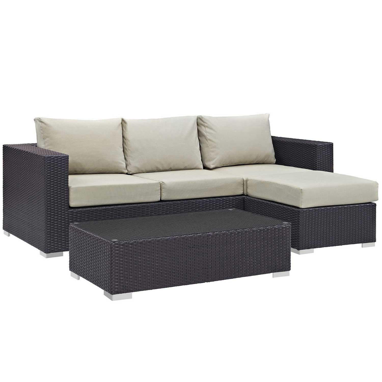 Modway Convene 3 Piece Outdoor Patio Sofa Set - Espresso Beige
