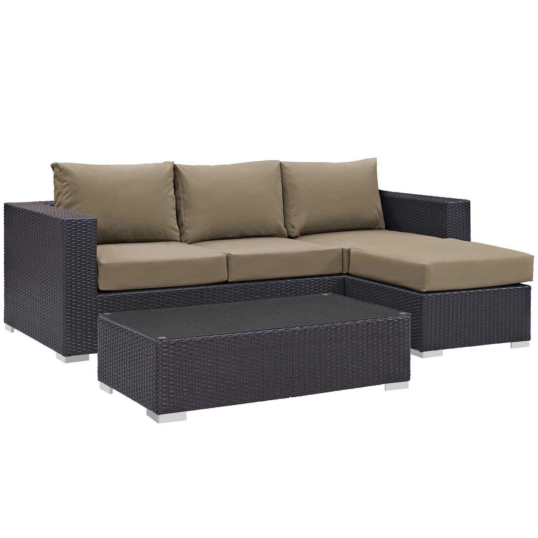 Modway Convene 3 Piece Outdoor Patio Sofa Set - Espresso Mocha
