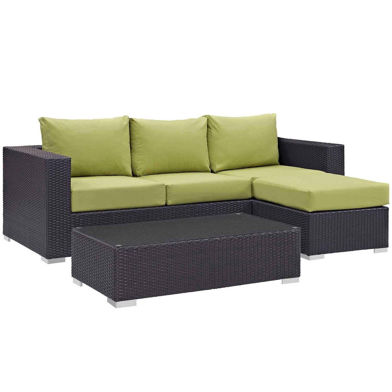 Modway Convene 3 Piece Outdoor Patio Sofa Set - Espresso Peridot