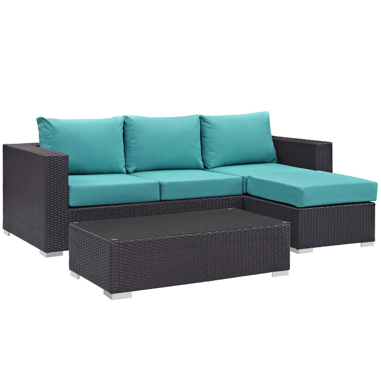 Modway Convene 3 Piece Outdoor Patio Sofa Set - Espresso Turquoise