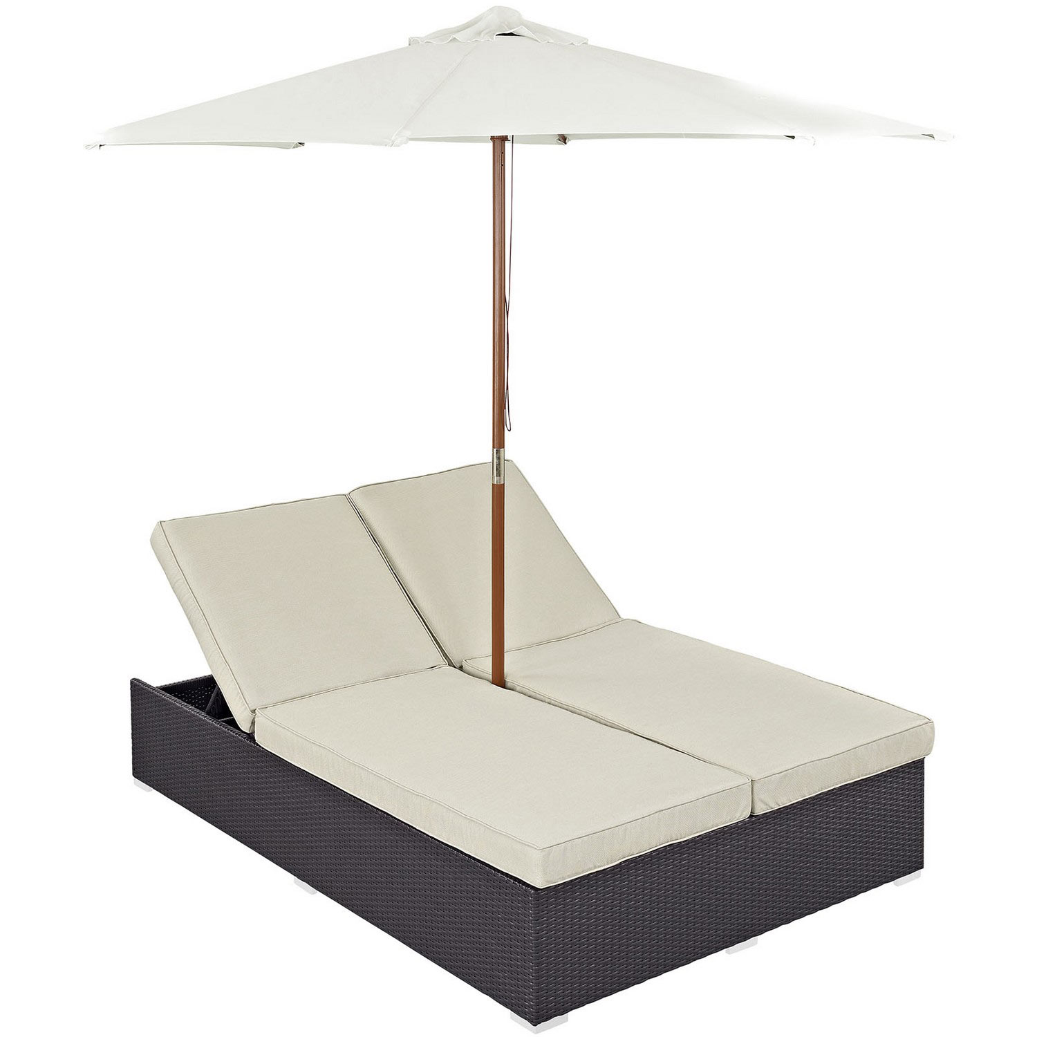 Modway convene double outdoor patio chaise espresso for Chaise coffre