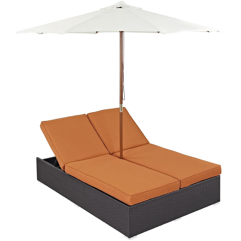 Modway Convene Double Outdoor Patio Chaise - Espresso Orange