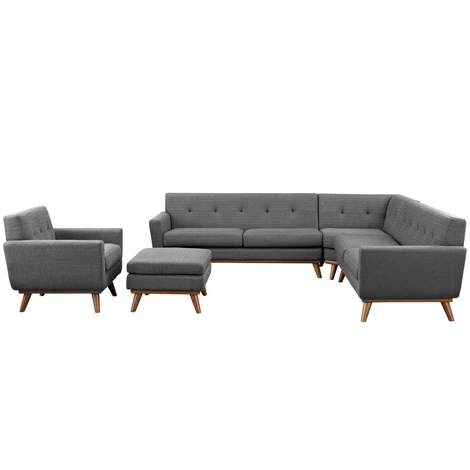Modway Engage 5 Piece Sectional Sofa - Expectation Gray