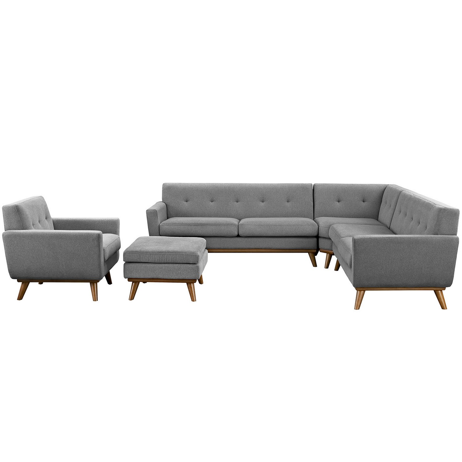 Modway Engage 5 Piece Sectional Sofa - Gray