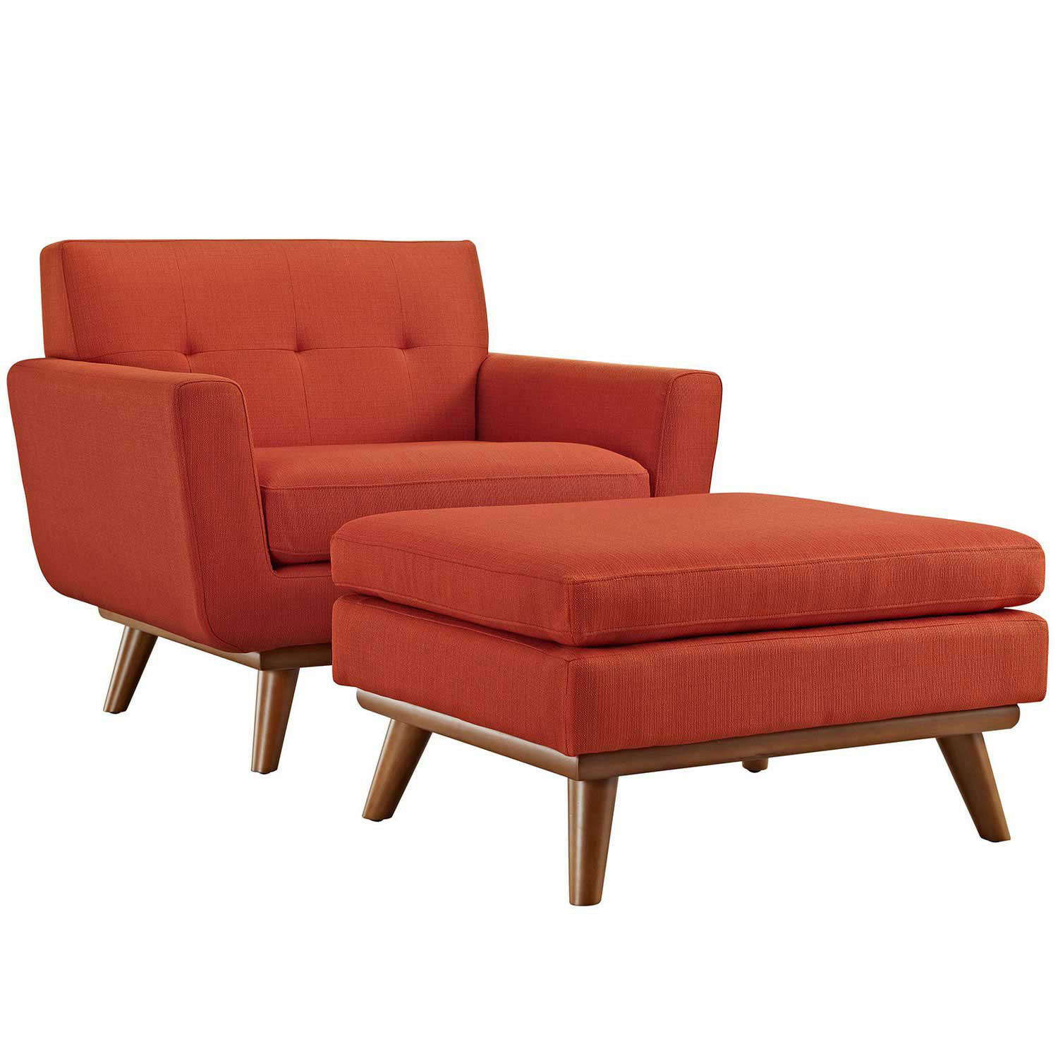 Modway Engage 2 Piece Chair and Ottoman - Atomic Red