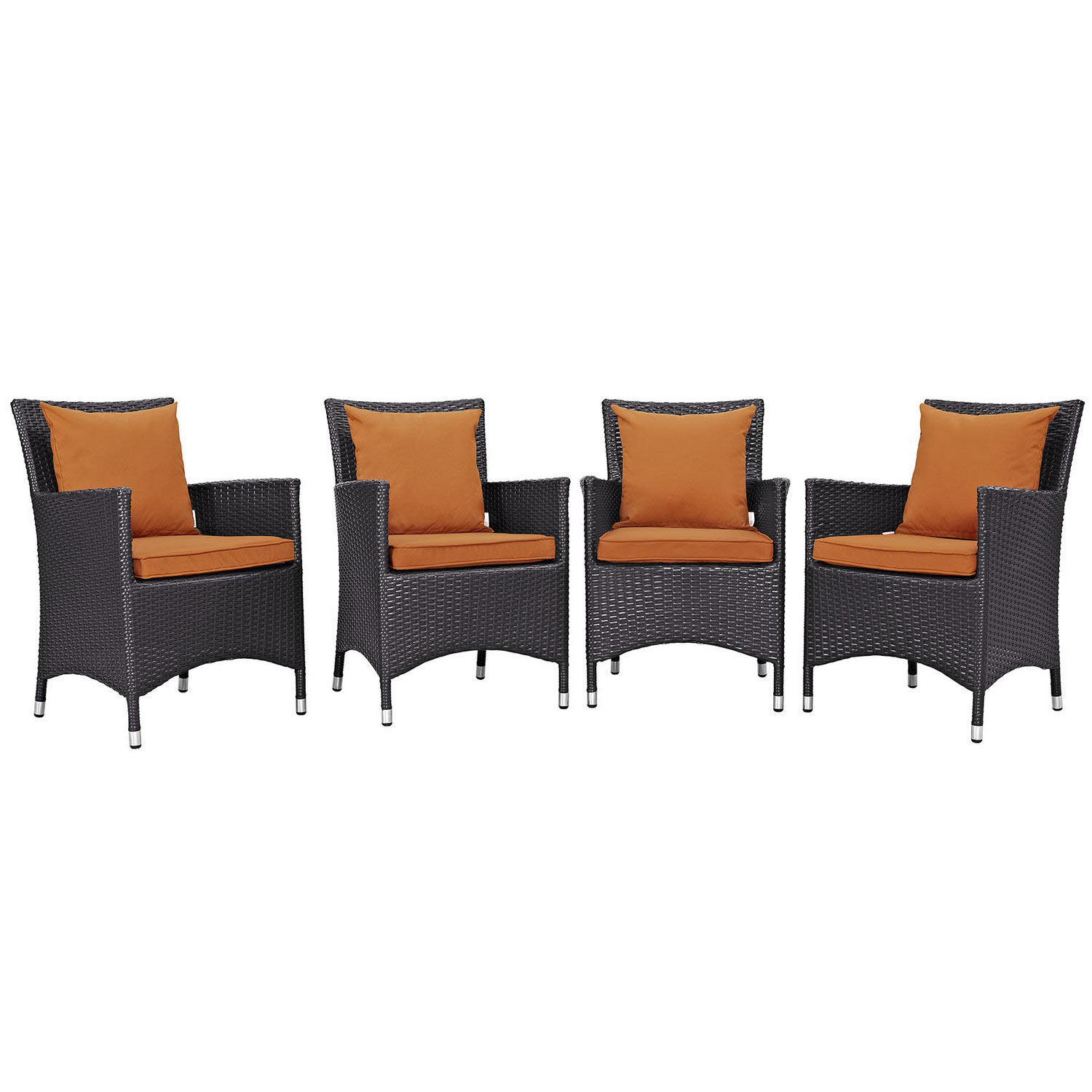 Modway Convene 4 Piece Outdoor Patio Dining Set - Espresso Orange