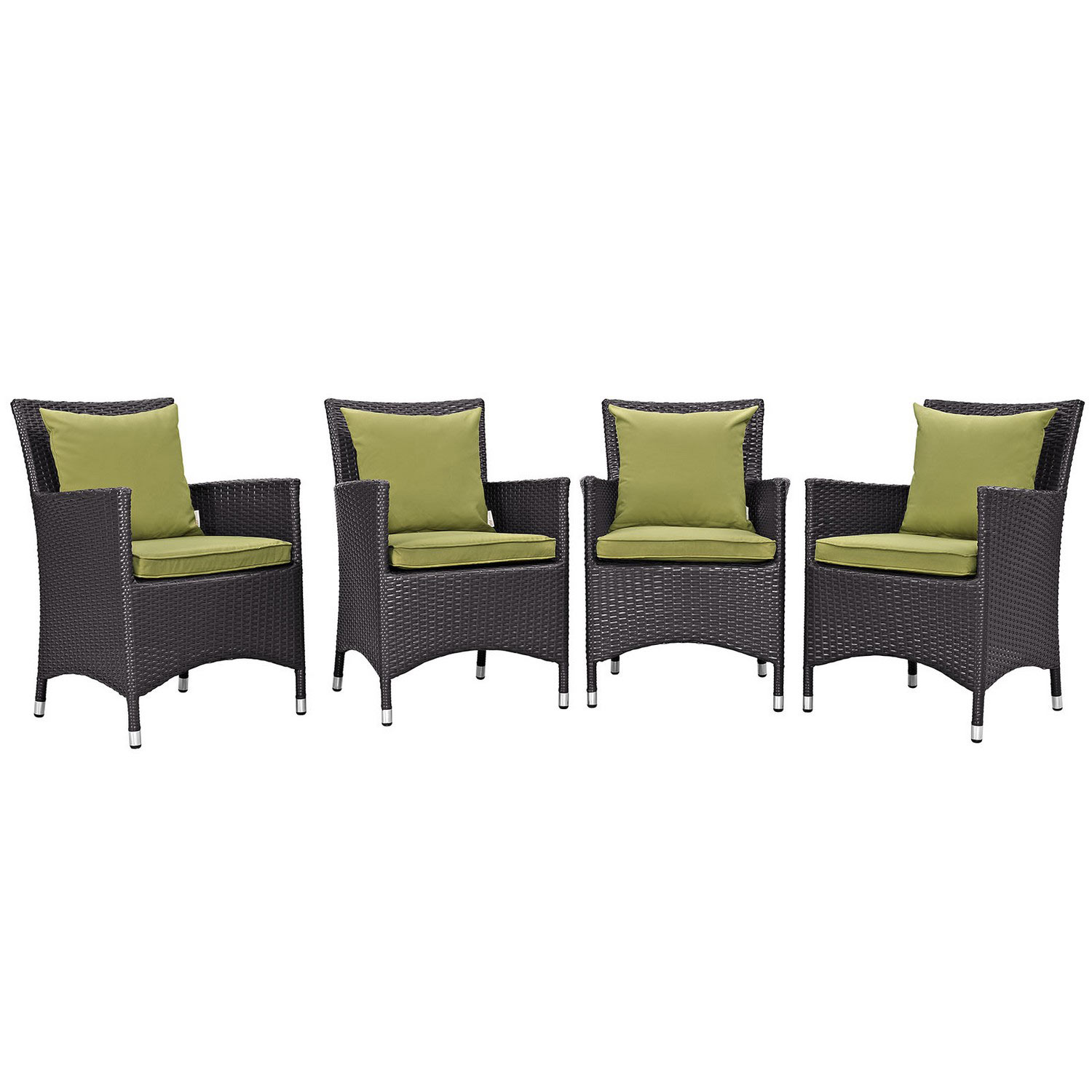 Modway Convene 4 Piece Outdoor Patio Dining Set - Espresso Peridot