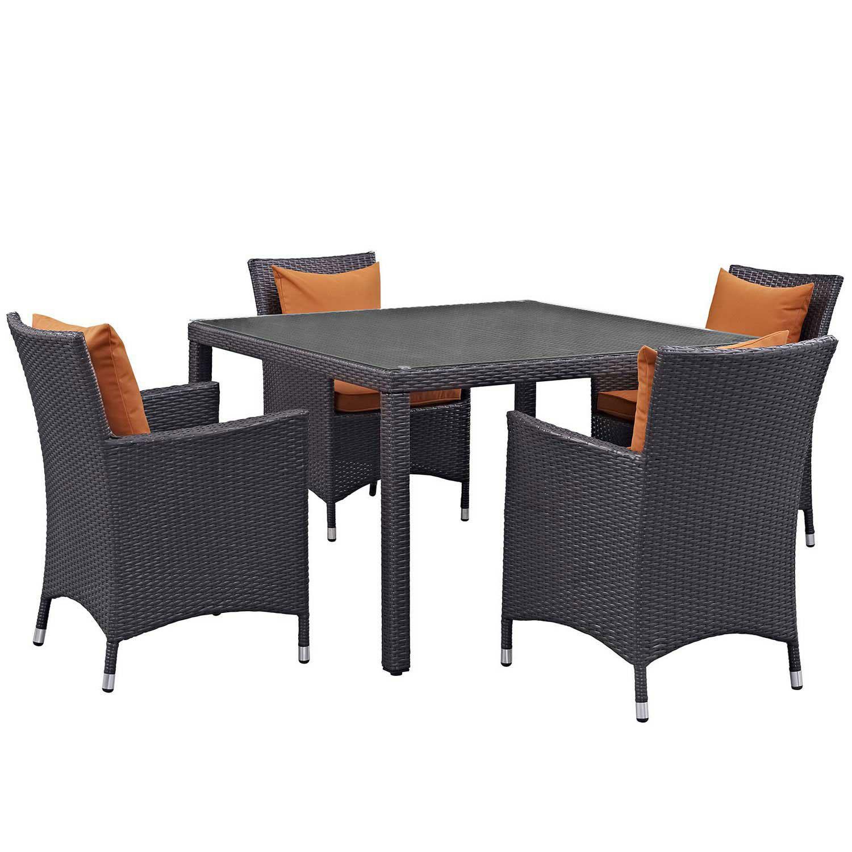 Modway Convene 5 Piece Outdoor Patio Dining Set - Espresso Orange