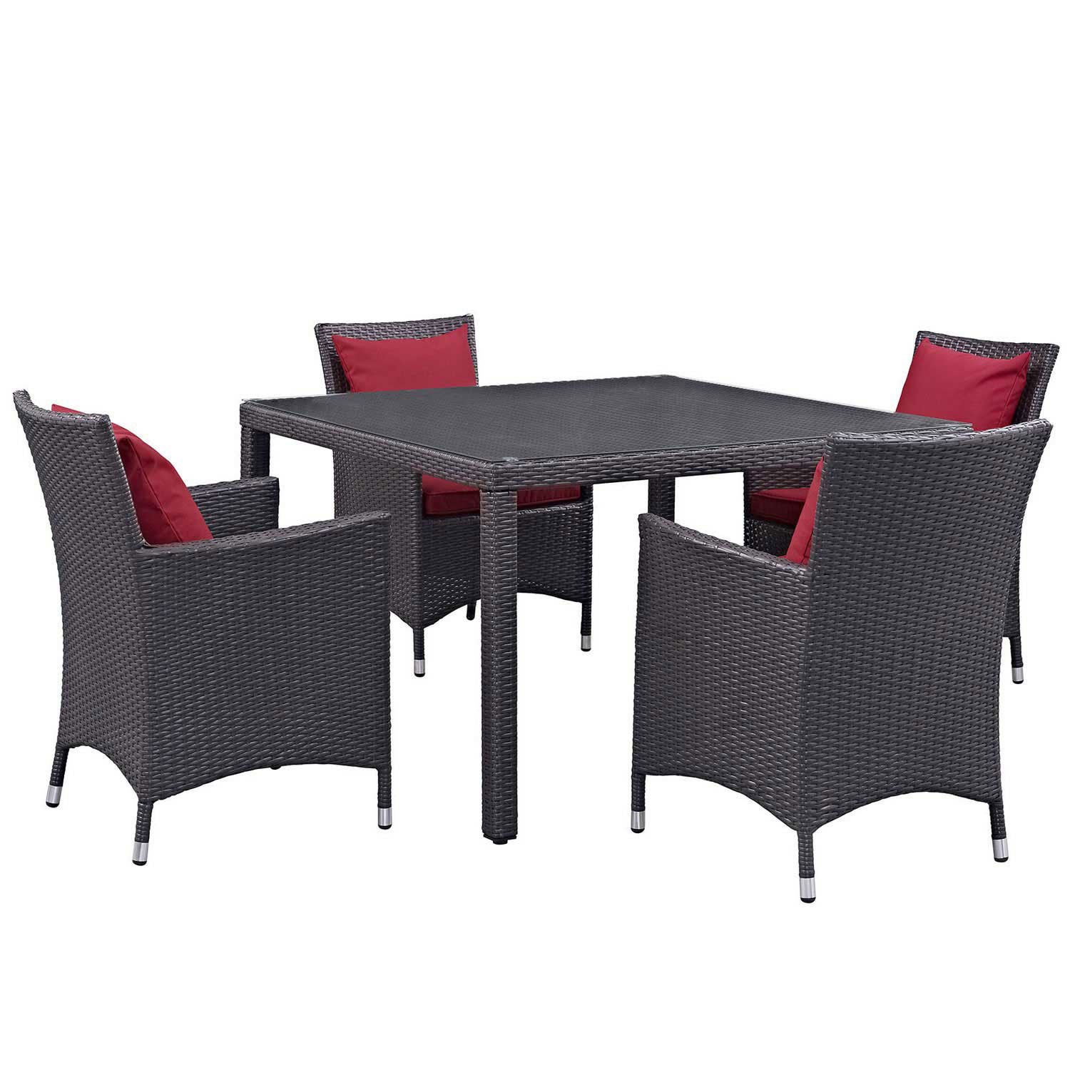 Modway Convene 5 Piece Outdoor Patio Dining Set - Espresso Red