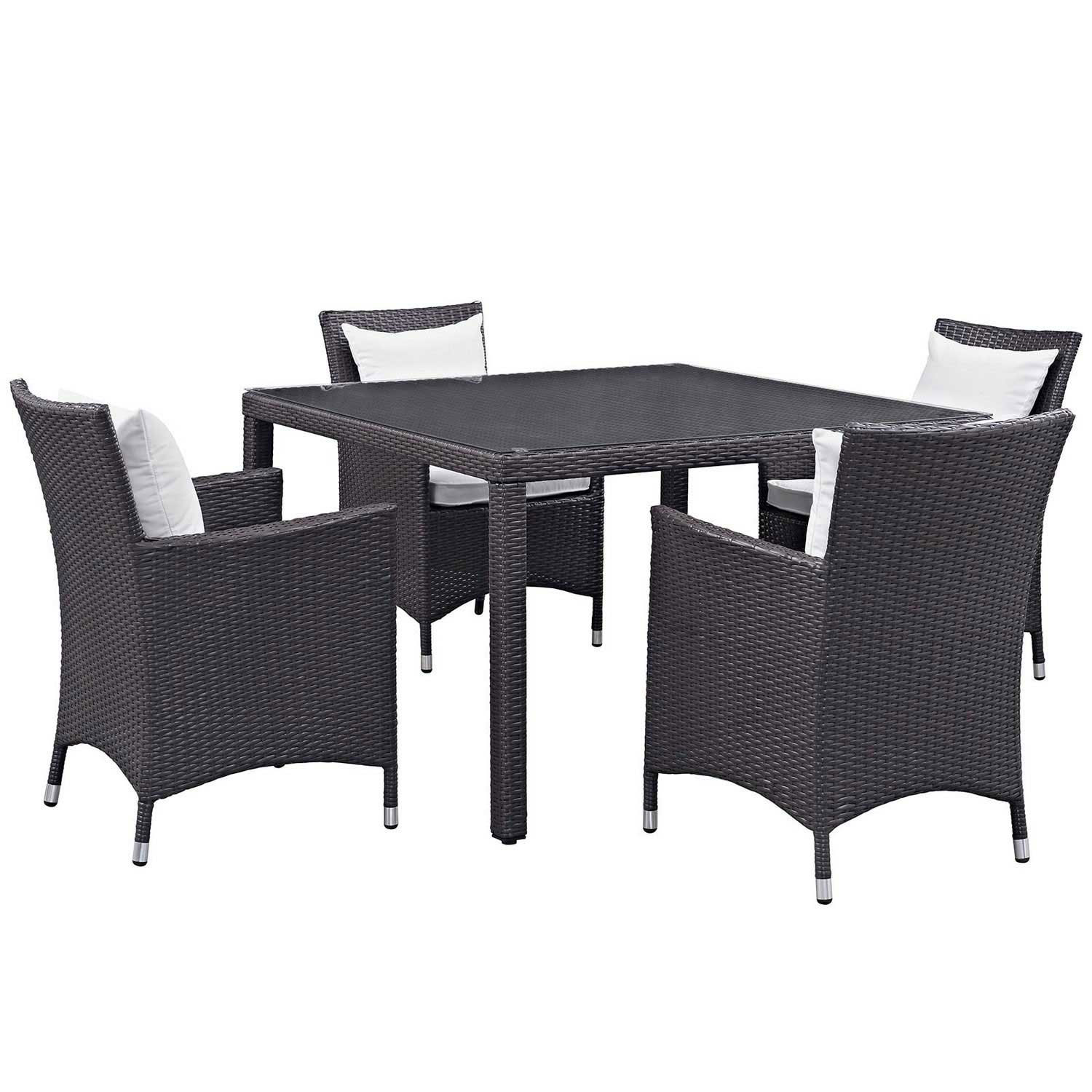 Modway Convene 5 Piece Outdoor Patio Dining Set - Espresso White
