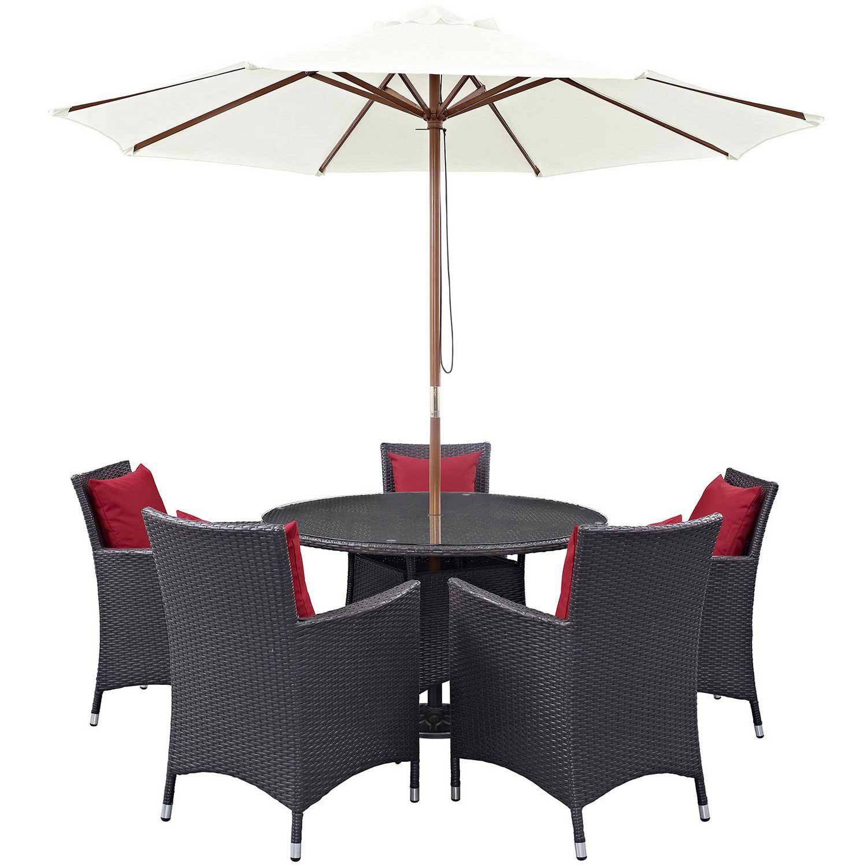 Modway Convene 7 Piece Outdoor Patio Dining Set - Espresso Red