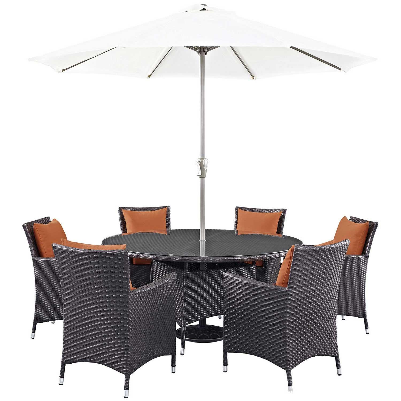 Modway Convene 8 Piece Outdoor Patio Dining Set - Espresso Orange