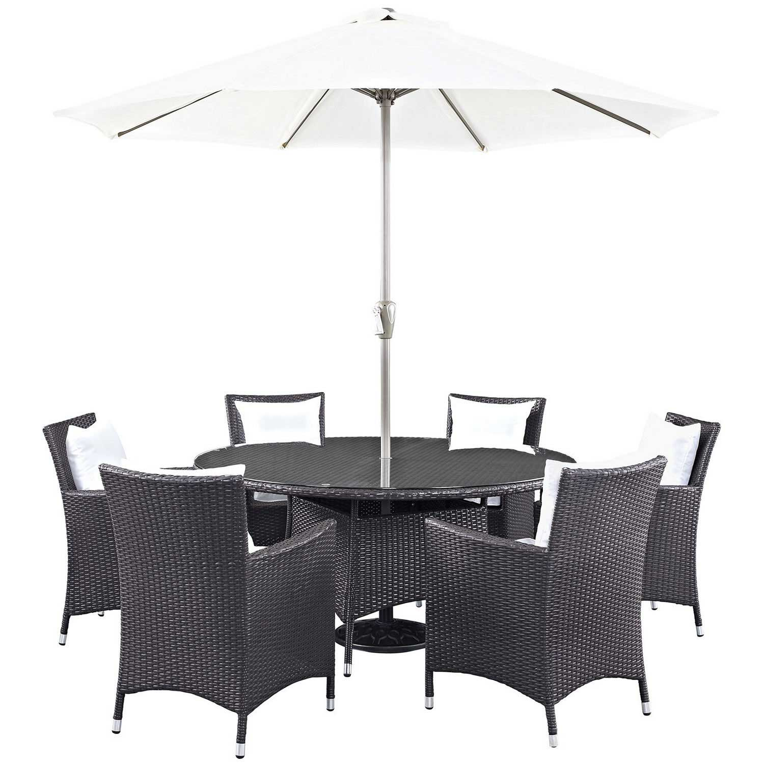 Modway Convene 8 Piece Outdoor Patio Dining Set - Espresso White