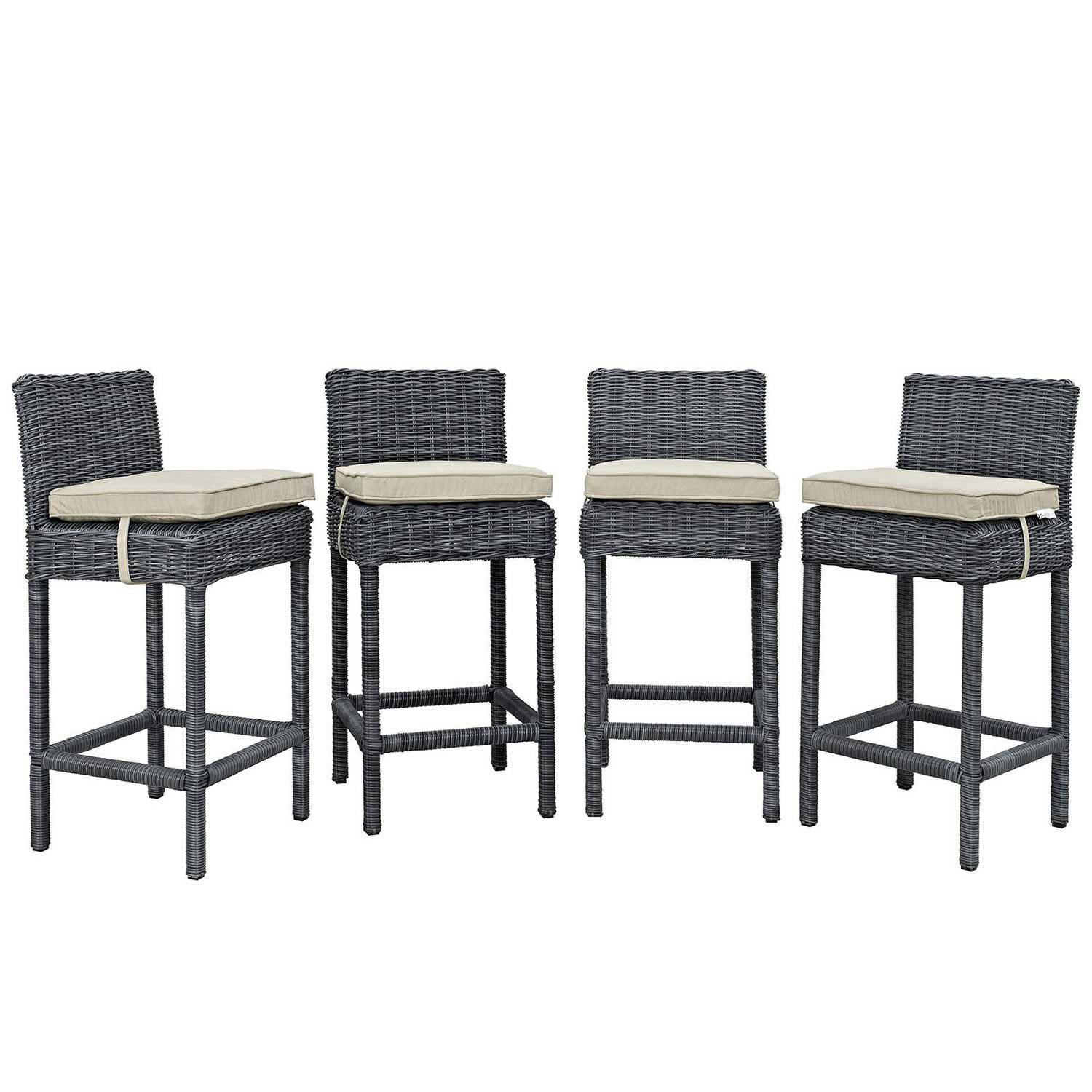 Modway Summon Bar Stool Outdoor Patio Sunbrella Set of 4 - Antique Canvas Beige
