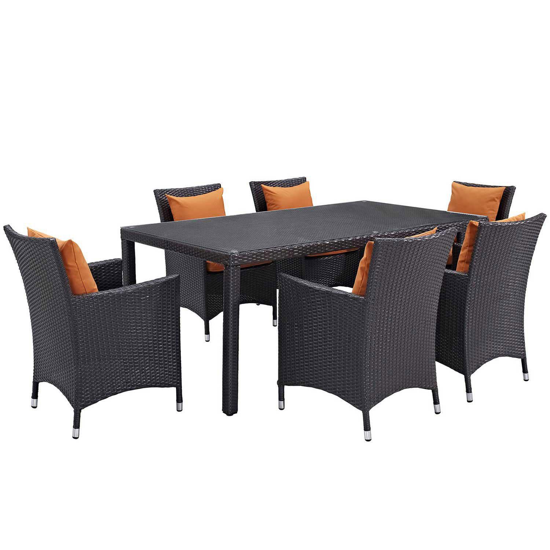 Modway Convene 7 Piece Outdoor Patio Dining Set - Espresso Orange