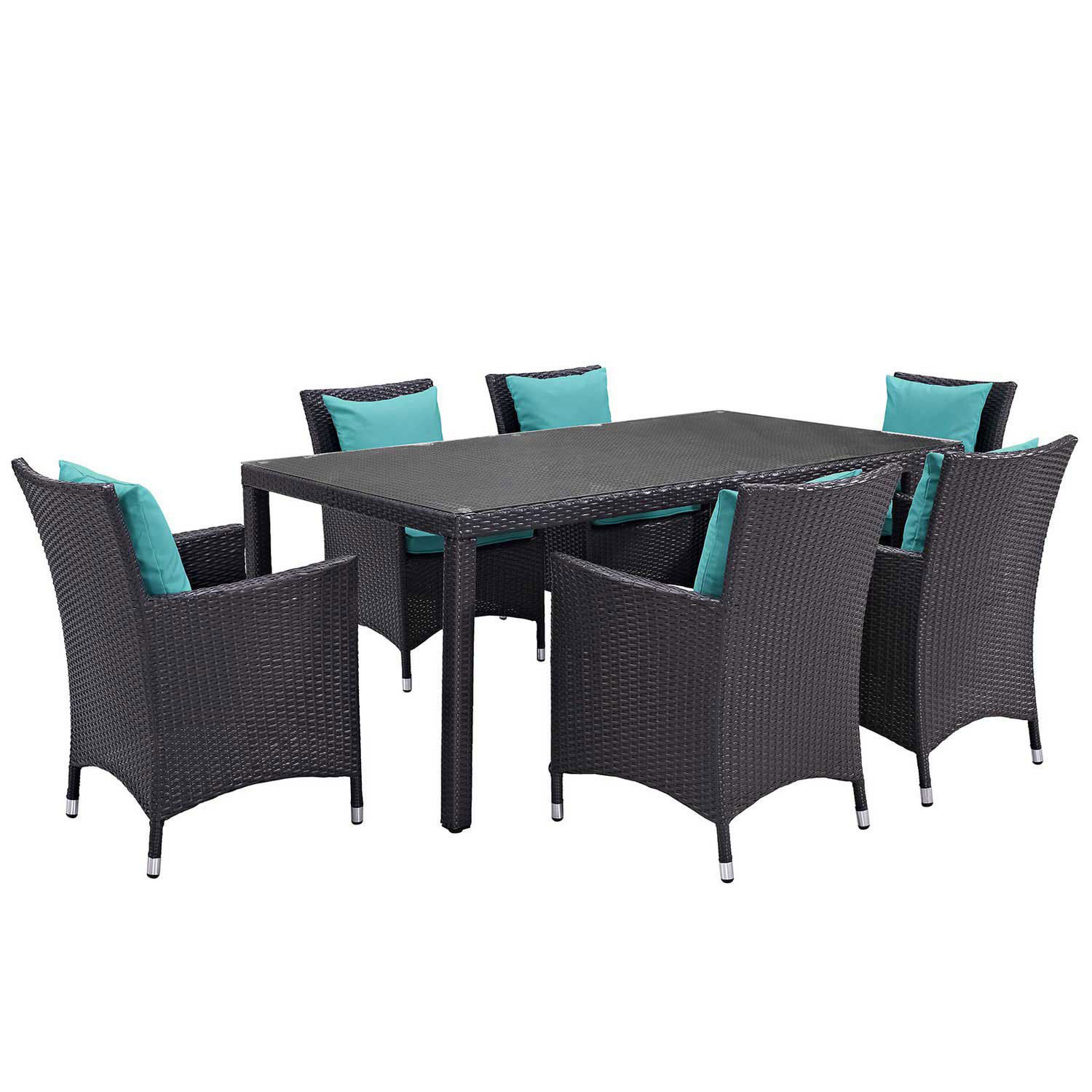 Modway Convene 7 Piece Outdoor Patio Dining Set - Espresso Turquoise