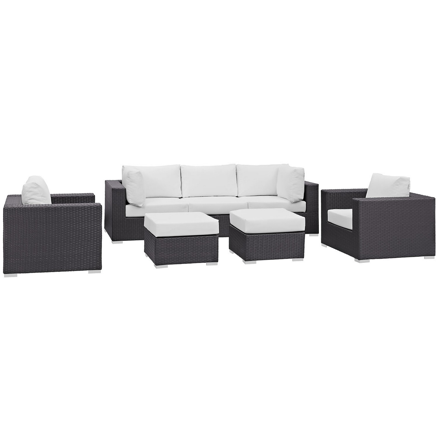 Modway Convene 7 Piece Outdoor Patio Sectional Set - Espresso White