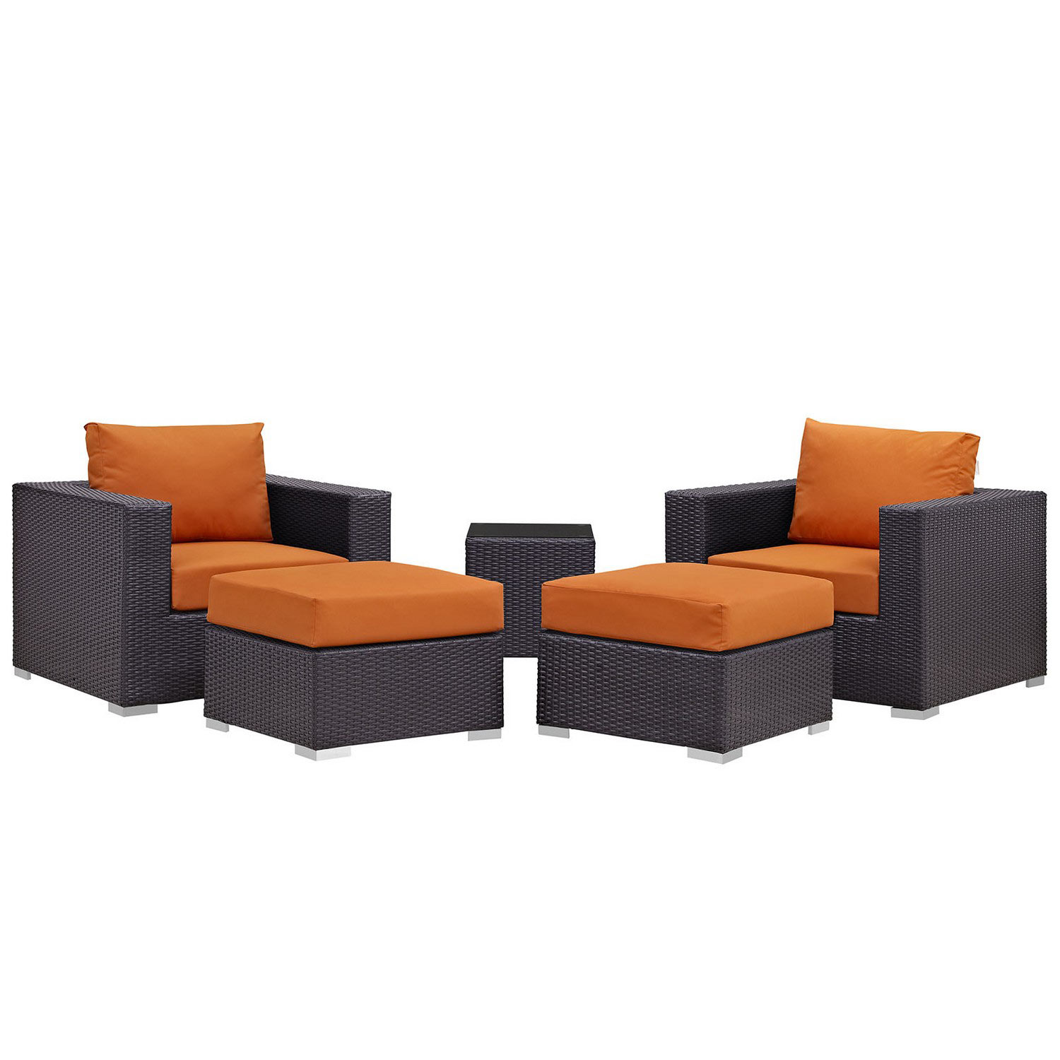Modway Convene 5 Piece Outdoor Patio Sectional Set - Espresso Orange