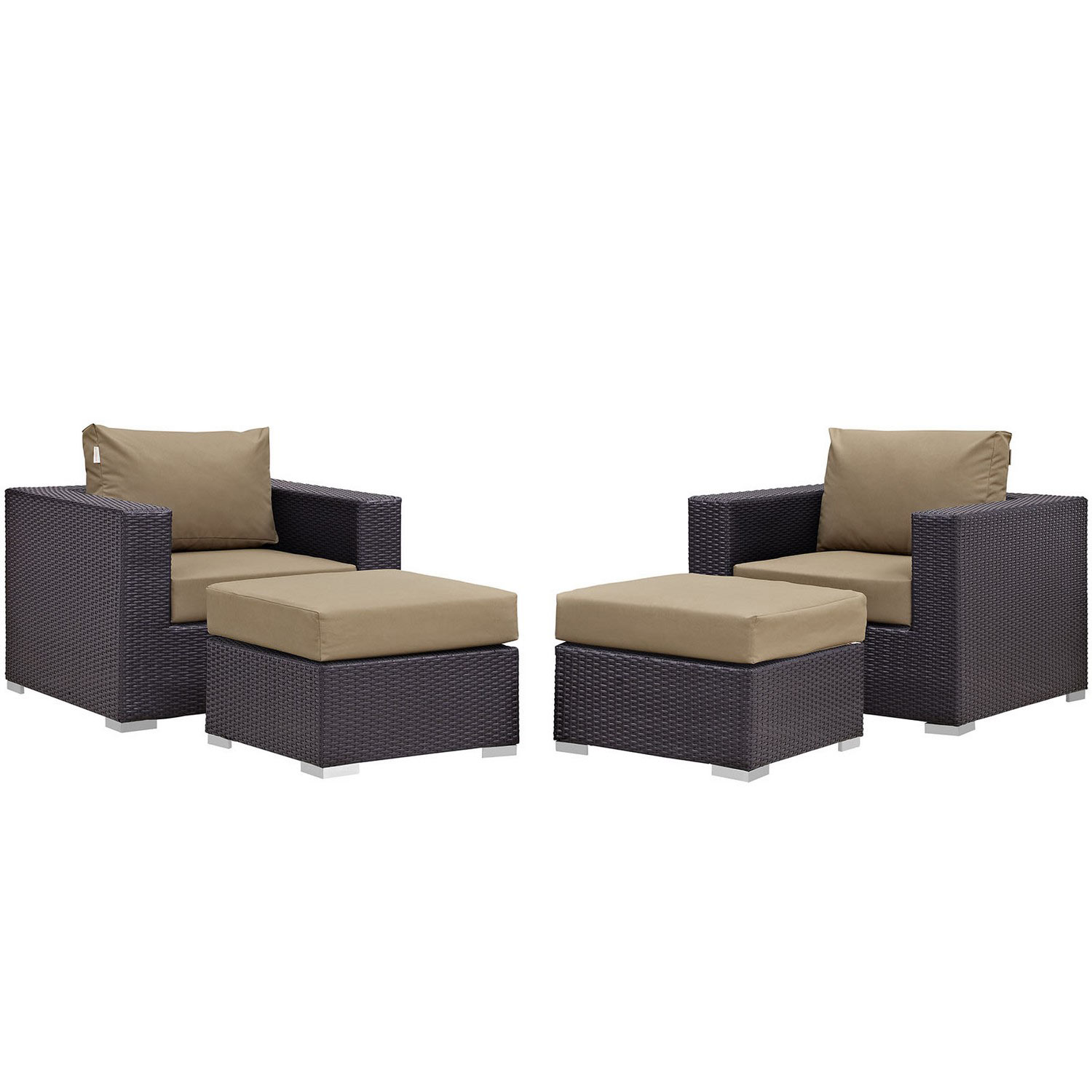 Modway Convene 4 Piece Outdoor Patio Sectional Set - Espresso Mocha
