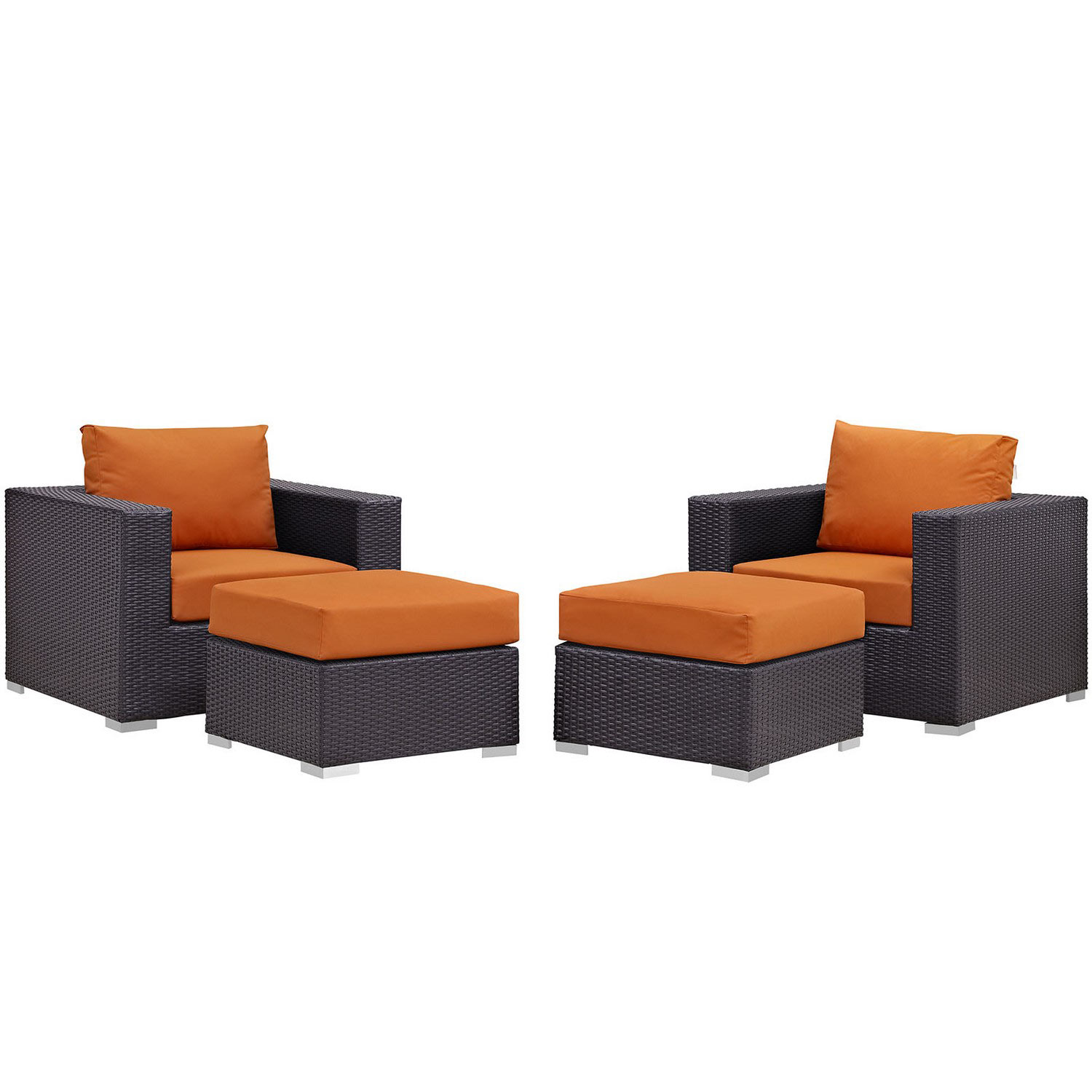 Modway Convene 4 Piece Outdoor Patio Sectional Set - Espresso Orange