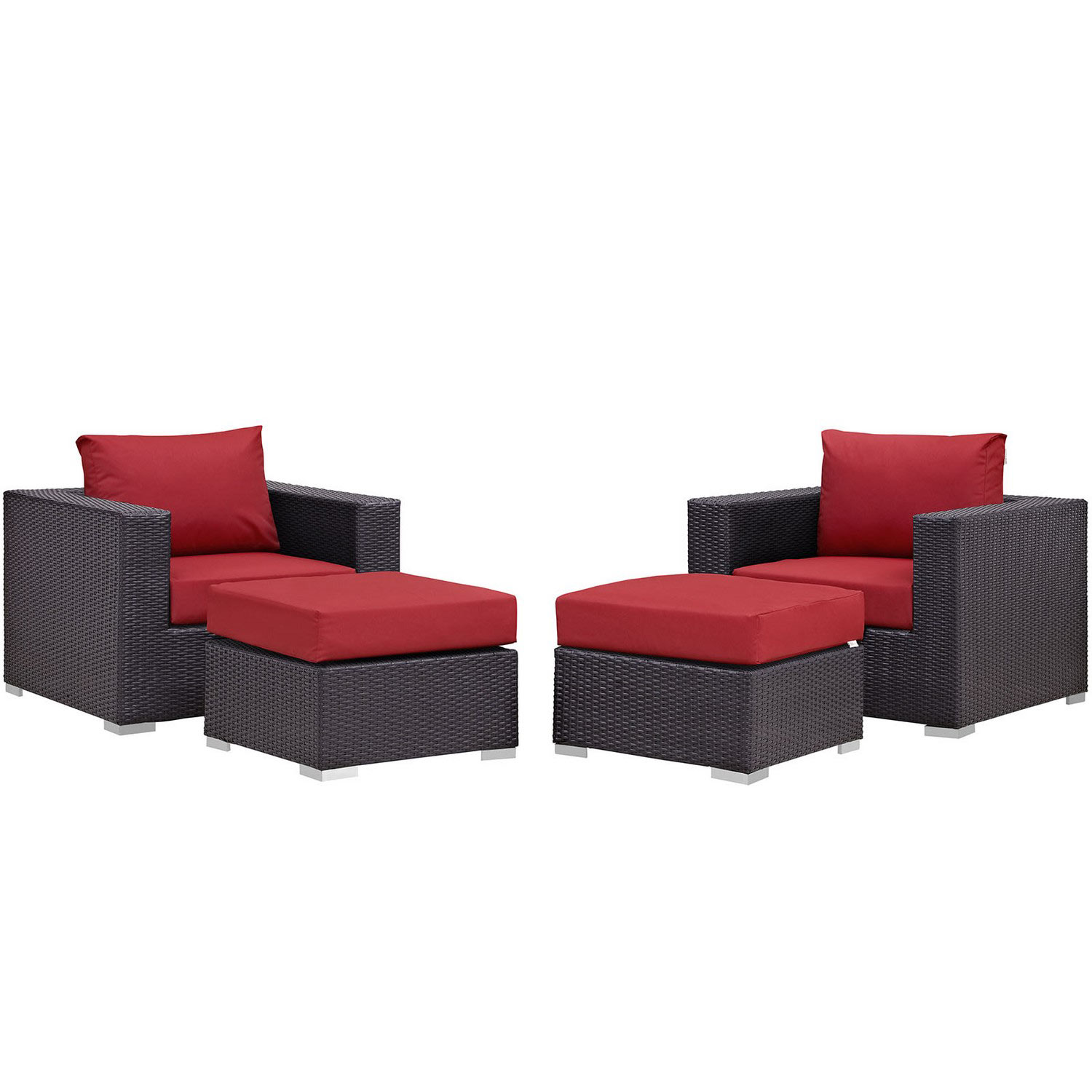 Modway Convene 4 Piece Outdoor Patio Sectional Set - Espresso Red