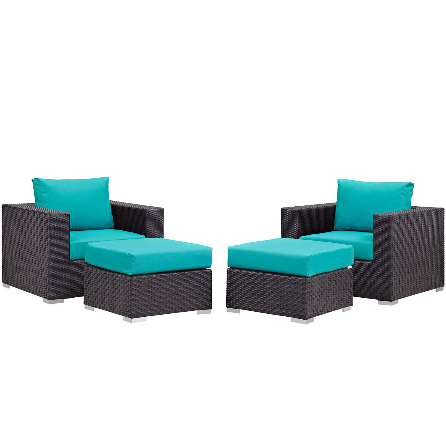 Modway Convene 4 Piece Outdoor Patio Sectional Set - Espresso Turquoise