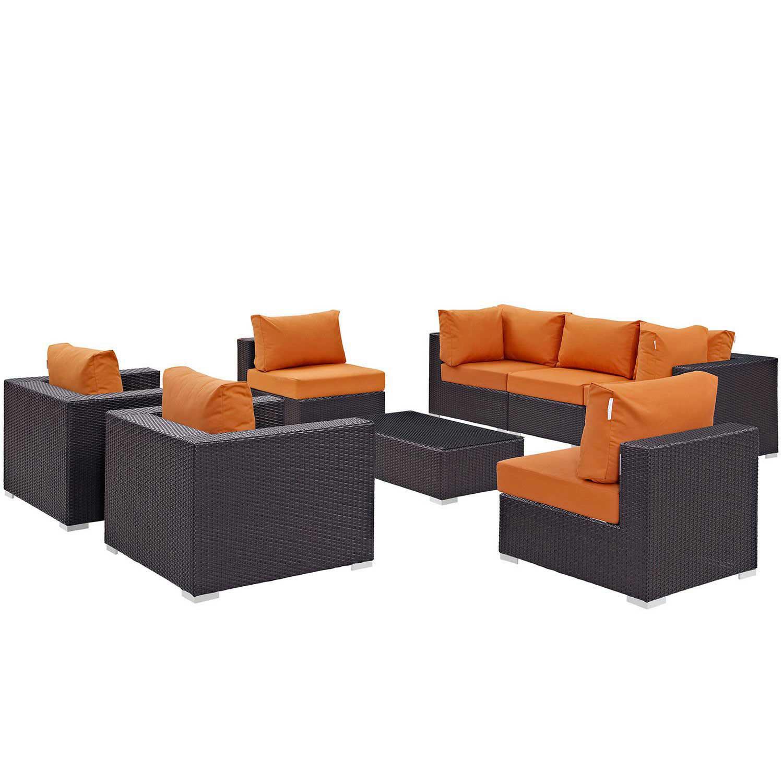 Modway Convene 8 Piece Outdoor Patio Sectional Set - Espresso Orange
