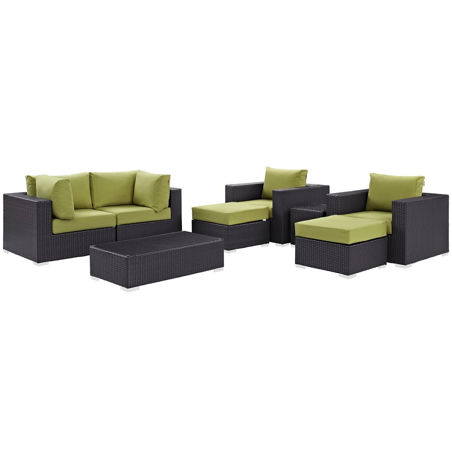 Modway Convene 8 Piece Outdoor Patio Sectional Set - Espresso Peridot