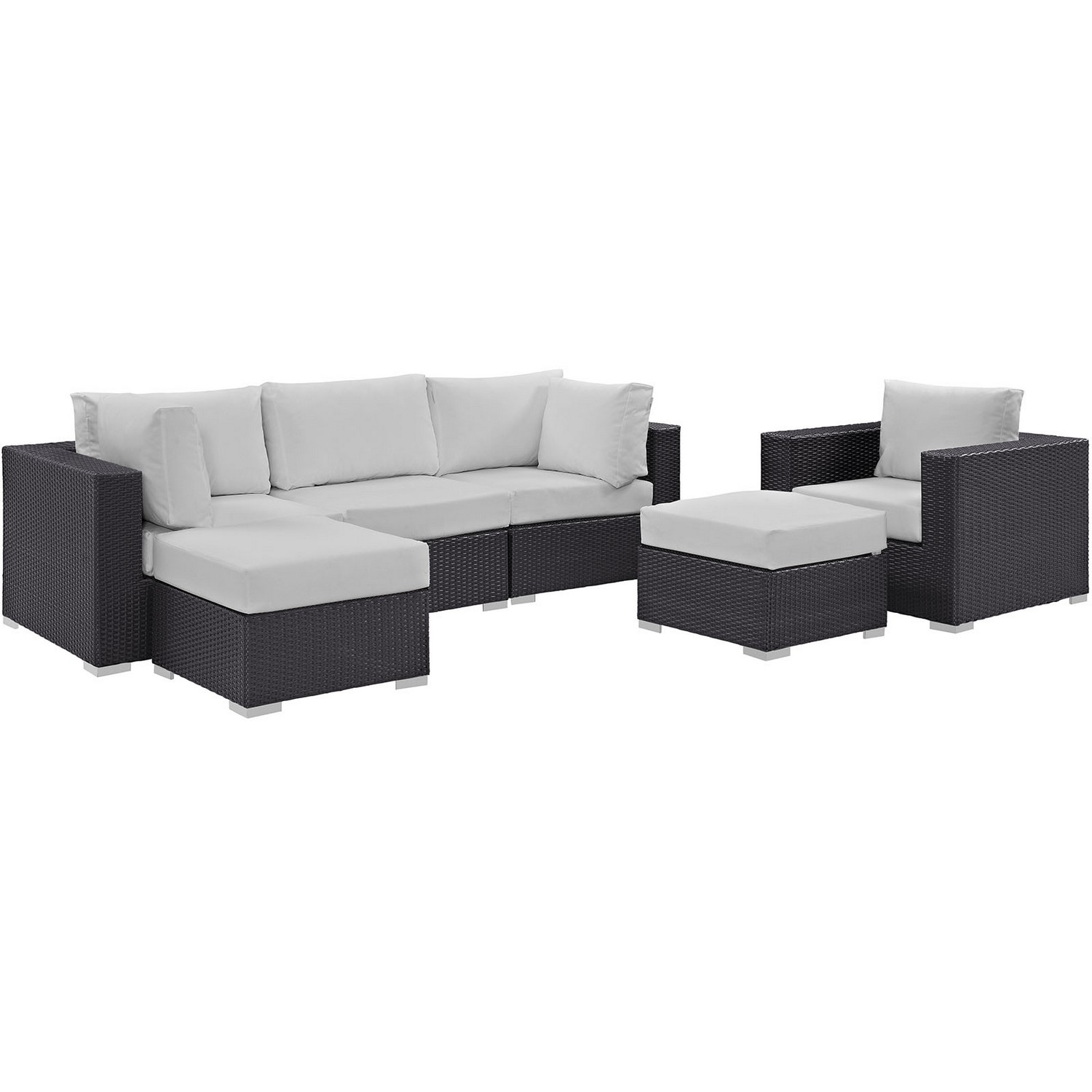 Modway Convene 6 Piece Outdoor Patio Sectional Set - Espresso White