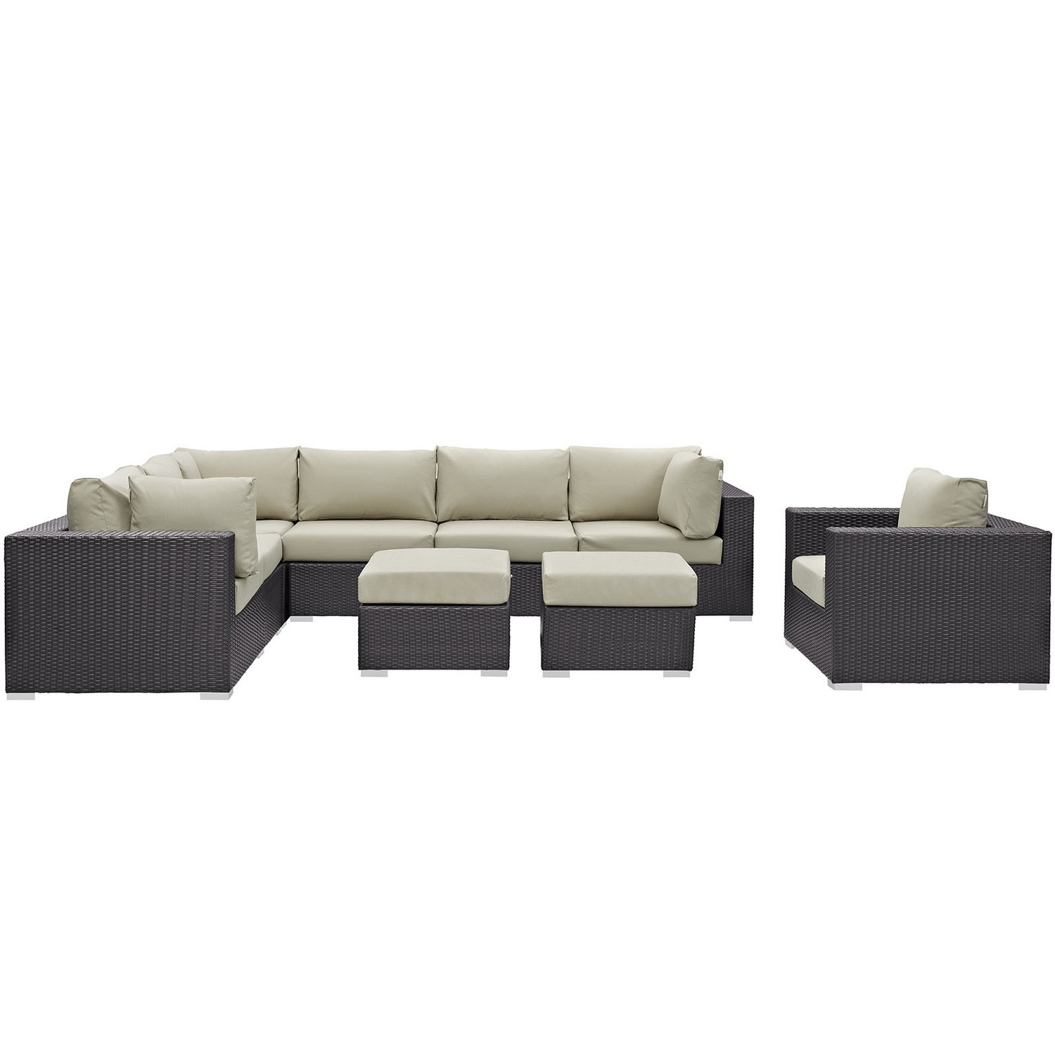 Modway Convene 9 Piece Outdoor Patio Sectional Set - Espresso Beige