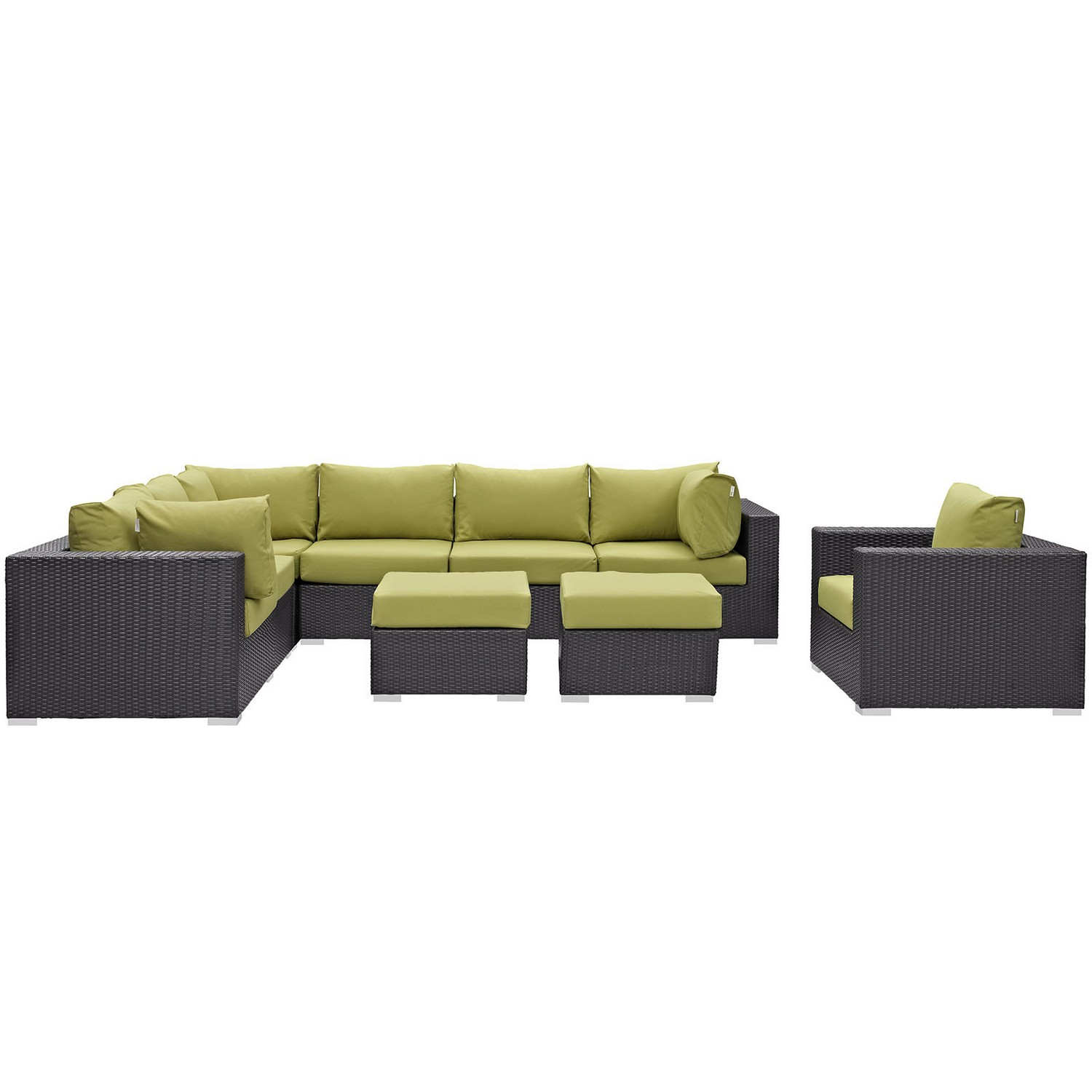 Modway Convene 9 Piece Outdoor Patio Sectional Set - Espresso Peridot
