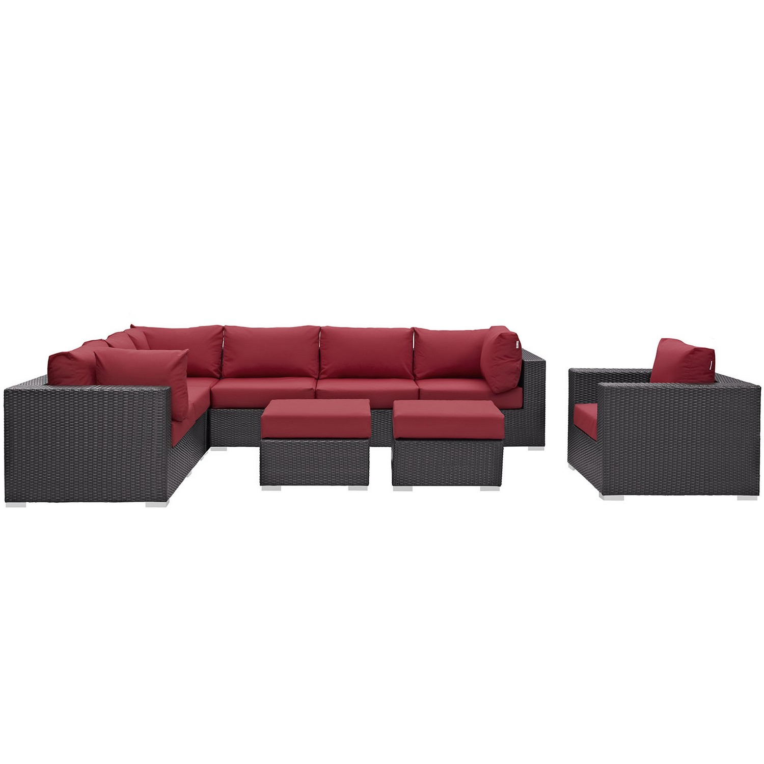 Modway Convene 9 Piece Outdoor Patio Sectional Set - Espresso Red