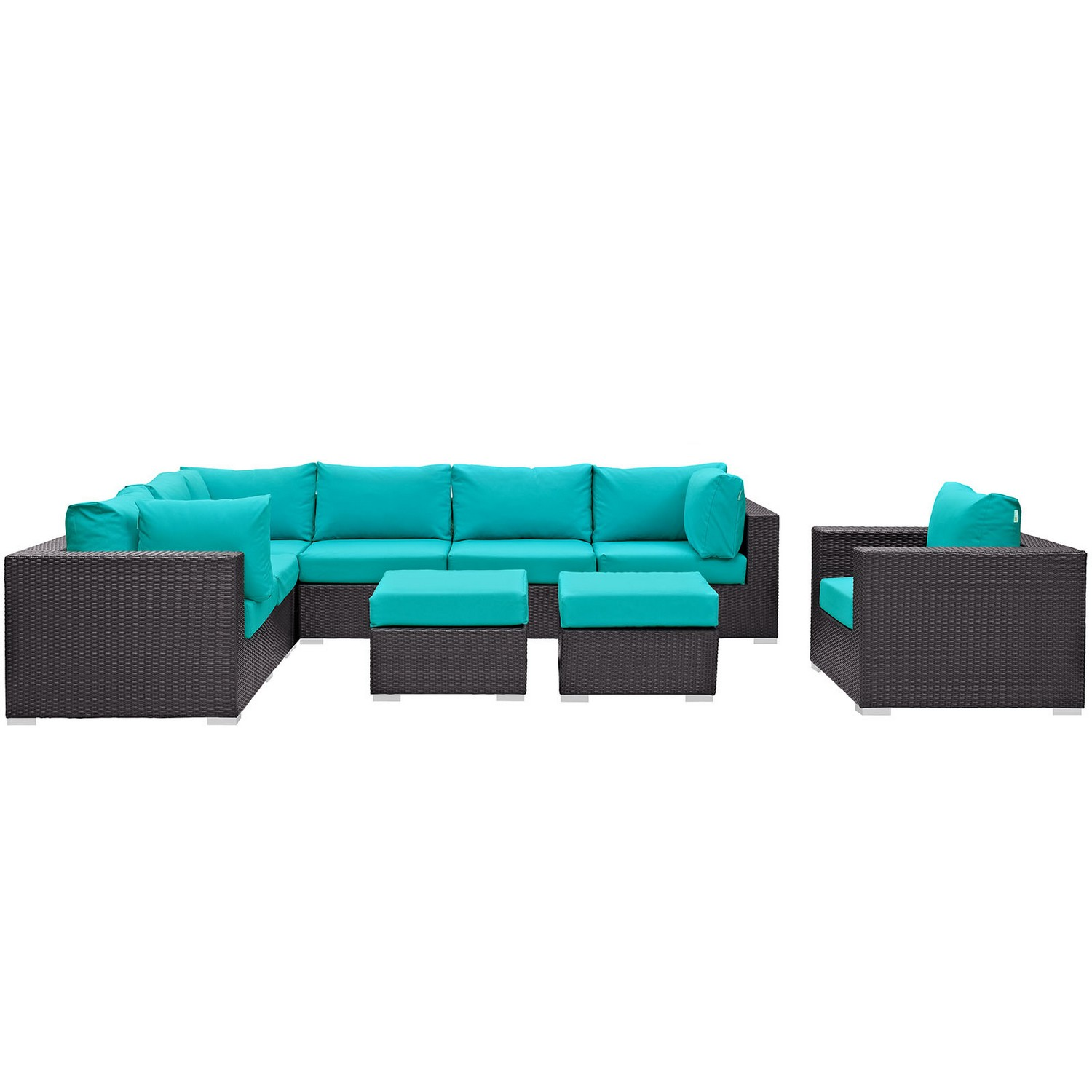 Modway Convene 9 Piece Outdoor Patio Sectional Set - Espresso Turquoise