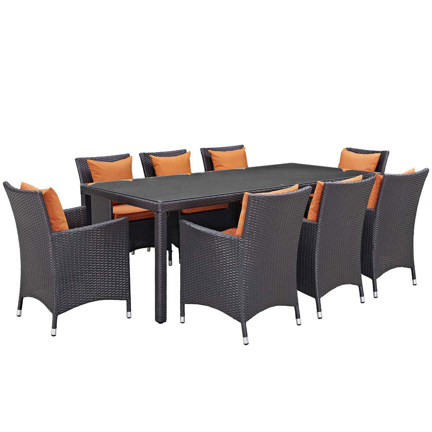 Modway Convene 9 Piece Outdoor Patio Dining Set - Espresso Orange