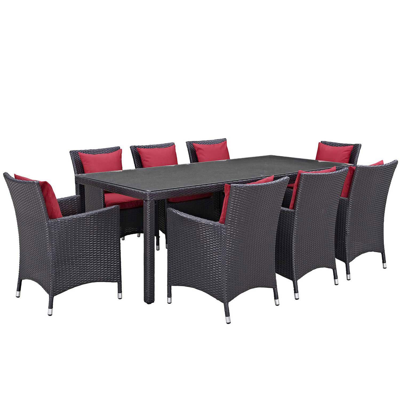 Modway Convene 9 Piece Outdoor Patio Dining Set - Espresso Red