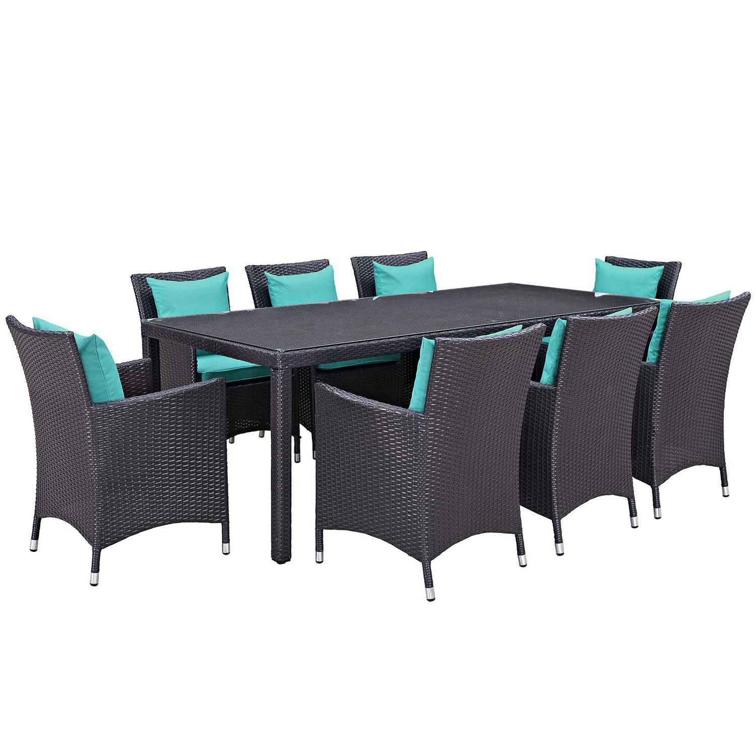 Modway Convene 9 Piece Outdoor Patio Dining Set - Espresso Turquoise