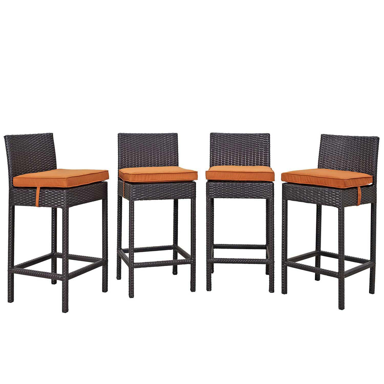Modway Convene 4 Piece Outdoor Patio Pub Set - Espresso Orange